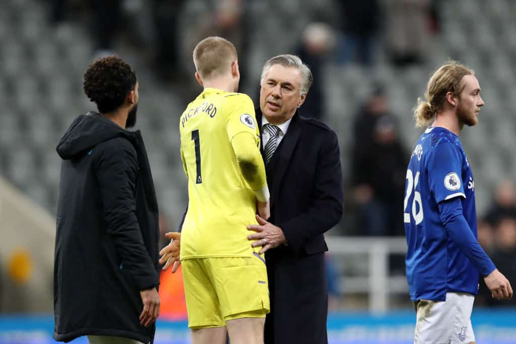 Jordan Pickford and Carlo Ancelotti